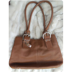 Tignanello cognac brown pebbled MEDIUM tote purse